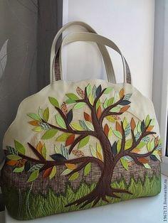 """Купить """" В райском саду """" - женская сумка, смешанная техника, аппликация из кожи"""