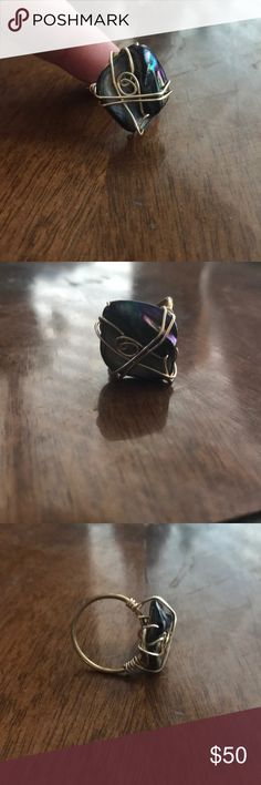 Gold Wire Wrapped Stone SZ 7 Gold Wire Wrapped Stone SZ 7, beautiful, boutique made in CA, lovely to wear! Jewelry Rings