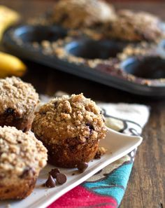 Whole Wheat Chocolate Chip Banana Peanut Butter Muffins:  maybe it seems funny to you, but these look easy to make vegan to me.