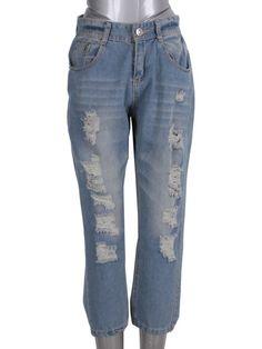 Retro broken holes nine points jeans Skinny Jeans Style, Cheap Jeans, Korean Fashion, Retro, Pants, Women, K Fashion, Trouser Pants, Korea Fashion