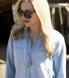 chambray with vintage pin necklace | allyson in wonderland