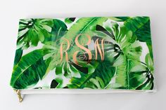 Palm Leaf Foldover Clutch Bag with Metallic Copper Monogram | Etsy