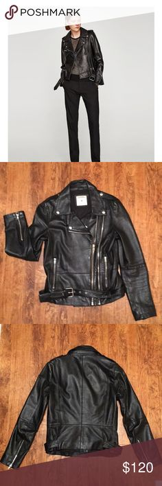 "Gorgeous black leather motorcycle jacket! Zara Woman soft lambskin leather biker jacket in beautiful condition! I am still not sure I want sell it but I rarely wear it and that's just not right. Moto jacket has a functional belt, epaulettes, two front zippers (one for show, one functional),  two zippered hand pockets, and zippers at the wrists. The jacket in the stock photo is a slightly different version (mine has no front chest pocket). Size medium. Approximate measurements: 34"" bust, 24""…"