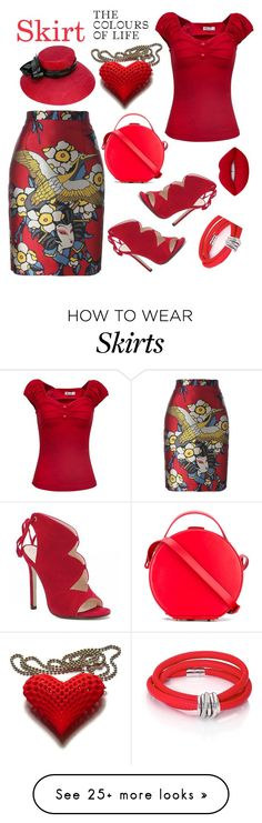 """red"" by priyaarun on Polyvore featuring Dsquared2, Nico Giani, Philip Treacy, de Grisogono and Lime Crime"