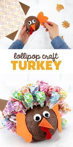 """Turkey Lollipop Craft - Looking for a cute lollipop craft for Thanksgiving? Try making this one! It's perfect for the """"kids table"""" at Thanksgiving!"""