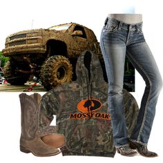 Country Girl Outfit. Trucks the most important part(;