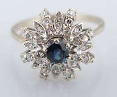 White Gold Sapphire & Diamond Ring for auction. Please see attached appraisal image for more information. Sapphire Diamond, Auction, White Gold, Canada, Antiques, Rings, Jewelry, Antiquities, Antique