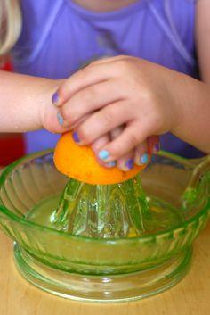 Chasing Butterflies: Montessori Practical life activities - Fresh squeezed orange juice...