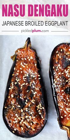 Nasu Dengaku - Japanese broiled eggplant with sweet miso glaze. This is traditional Japanese recipe that will make you rediscover eggplant! Melt in your mouth tender eggplant with a caramelized sweet miso glaze. The best! Easy Japanese Recipes, Japanese Dishes, Vegan Japanese Food, Japanese Miso Eggplant Recipe, Traditional Japanese Food, Japanese Vegetarian Recipes, Japanese Salad, Nasu, Vegan Recipes