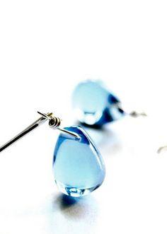 Sky blue glass earrings