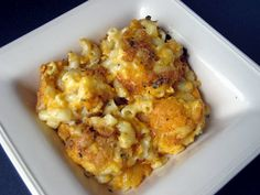 Baked Mac -n- Cheese. So easy, SO good! I added small ham pieces and jalapenos to jazz it up a bit.   From: Elizabeth's Edible Experience: Turkey Day Troubles - Installment #2