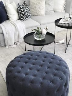 Jotex SIMPLY STUNNING WITH THE WHITE SOFA, THROW & FLOOR RUG! - LOVE THE POPS OF NAVY, IN THE ABSOLUTELY GORGEOUS POUFFE & SIDE TABLES! - LOOKS AMAZING! #️⃣