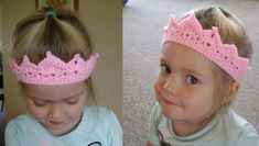 Free Toddler Princess Crown Pattern… I just had to share this pattern I improvised today. I have the flu at the moment, so if my instructions are unclear, I cannot be held accountable ;) Hook: mm Yarn: I used Knitwi. Crochet Crown Pattern, Col Crochet, Crochet Patron, Headband Pattern, Free Crochet, Crown Headband, Crochet Toddler, Baby Girl Crochet, Crochet For Kids