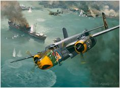Raid on the China Coast by Roy Grinnell  'Lady Lil' of the Air Apaches, 345th BG, 498th Bomb Squadron is shown attacking Japanese shipping o...