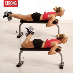 Want to mix up your lower body moves? Add this hamstring exercise to your next leg day! --------------------------------------------------------- Dumbbell Hamstring Curl Set Up: Lie face down on a flat bench and place a dumbbell between your feet. Extend your legs and hold the front of the bench. Action: Bend your knees and raise the dumbbell towards your butt. Pause at the top of movement, then slowly lower back down, and repeat. Do 3 sets of 10-12 Reps. ---- And for more ways to sculpt…