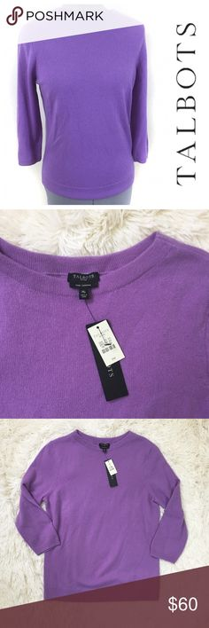 """Talbots purple 100% cashmere long sleeve sweater Incredibly soft, classic crew neck cashmere sweater from Talbots. Tags still attached. Pullover, long sleeves.  Brand:  Talbots Size: Petite Medium Fabric: 100% cashmere. Medium weight, high quality knit. A little bit of stretch.  Approx measurements:  Bust: 40"""" Length: 25"""" Waist: 36"""" Sleeve length, from shoulder: 19.5"""" Condition:  New with tags, never washed or worn; no flaws  Free of any odors, stains, rips, or snags Feel free to ask…"""