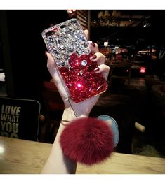 Diamond Gradient Color Plush Ball Phone Case – Phone case for girls Ipod Touch Cases, Bling Phone Cases, Diy Phone Case, Cute Phone Cases, Iphone Cases, Iphone 7, Cute Keychain, Ball Decorations, Gradient Color