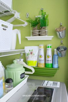 Tips for Organizing Laundry Closets – Graceful Order. .I need an Oxy jar, so cute and convenient