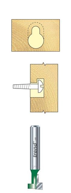 For picture hanging flush to the wall. * Plunge cutter move forward, then retract out from entry hole. * A template is recommended. * For No8 No10 screw heads. * Not suitable for grooving applications. #Keyhole 9.5mm diameter.... http://www.woodfordtooling.com/craftpro-router-cutters/slotters/keyhole/keyhole-9-5mm-diameter-680.html