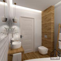 Łazienka w bieli i drewnie, wiecej na: www.krudesign.pl #wannawolnostojaca #łazienka #wanna #projektowaniewnetrz #architektwnetrz #bialalazienka #interiordesign #whitebathroom #bathroom #scandnavian #design #render #lamp #homedecor #ceramic #wood #interior #toilet #home #bigmirror #walldecor Small Bathroom Interior, Baths Interior, Bathroom Design Luxury, Rustic Bathrooms, Modern Bathroom Design, Bathroom With Shower And Bath, Modern Baths, Minimalist Home Interior, Home Decor