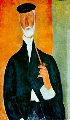 Hombre con pipa (1918), Amedeo Modigliani