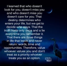 Lessons Learned in Life | Destiny determines who enters your life.