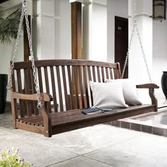Coral Coast Pleasant Bay Curved-Back Porch Swing with Optional Hanging Hardware - Dark Brown Stain - Porch Swings at Hayneedle