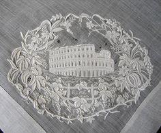 Maria Niforos - Fine Antique Lace, Linens & Textiles : Antique Lace # LA-209 Superb Appenzel Hankerchief of Coloseum in Rome