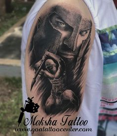 "313 Likes, 10 Comments - Moksha Tattoo Studio (@mokshatattoostudiogoa) on Instagram: ""#mokshatattoostudio #mukeshwaghela #spartan 300 #Black and grey #armtattoos I did this to do on the…"""