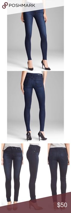 """AG HIGH RISE SKINNY JEANS The Farrah High Waist Skinny Jeans (Brooks)....Sz 27 ⭐️⭐️Easygoing high-rise jeans are fashioned from slightly faded dark-wash denim woven with a touch of comfortable stretch.⭐️⭐️ 31"""" inseam; 10 1/2"""" leg opening; 10"""" front rise; 14"""" back rise AG Adriano Goldschmied Jeans Skinny"""