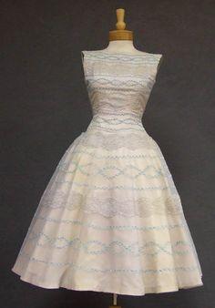Suzy Perette Pale Blue & Grey Nylon 1950s Cocktail Dress w/ Lace Appliques