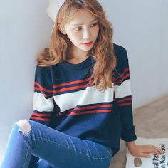 O Neck Loose Striped Sweater http://koreanfashionworld.com/product/o-neck-loose-striped-sweater http://koreanfashionworld.com/category/korean-knit