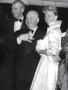 James Stewart, Alfred Hitchcock & Doris Day at the premiere of The Man Who Knew Too Much (1956) in Hollywood.