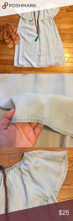 """Very soft off shoulder chambray dress Super cute light blue off shoulder dress. Material is lightweight and soft. It is not lined. Perfect in the Summer with your cutest sandals on. Practically worn once so it's considered like brand new. In size medium. Shoulder to bottom length is 31"""". Not lined. Sandals and necklace  not included. ❌❌NO TRADES AND LOWBALLING PLS❌❌👇🏽pls use the OFFER button below if interested in the item. You can always decline my counteroffer  if you don't like my…"""