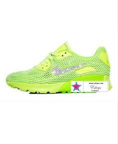 Custom Rhinestone Women AIR MAX 90 ULTRA Breathe Running Shoes GHOST GREEN   Electric Green b683af90c