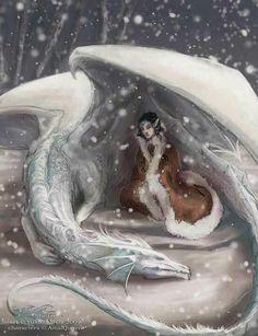 Dragon protégeant une Ancienne