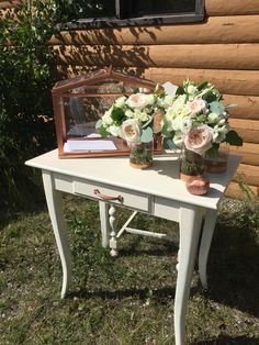 Camping wedding DIY signing table and card table and IKEA hack