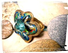 OOAK,Handmade adjustable flower shaped  polymer clay and brass ring ,Mokume Gane ,multicolor, autumn gift,unique by SueEllenDreamland on Etsy