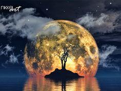 3D render van een griezelige boom tegen een afbeelding van de maan - http://www.nikkel-art.nl/