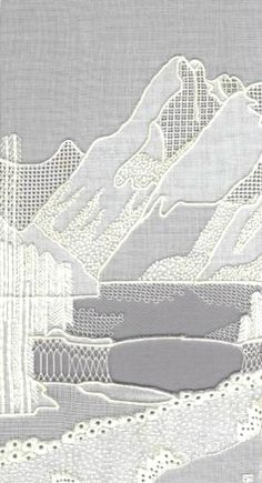 Mountains White Work Embroidery Kit - a Hand Embroidery Design as an Alternative to Cross-stitch.