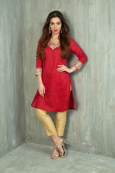 Linen kurti embellished with mirror work. Item number W15-19