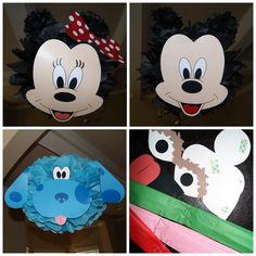 Blues Clues, Mickey and Minnie Mouse Birthday Party Tissue Papper  Pom Poms
