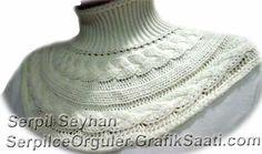 Yun orguden penye bluz ve yaka 35-2 Wool knitting cotton blouse and collar