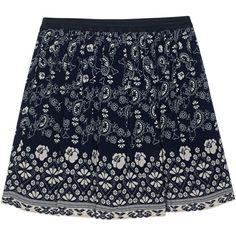 SEA Bandana Skirt Blue // Patterned mini skirt (£265) ❤ liked on Polyvore featuring skirts, mini skirts, elastic waist skirt, short summer skirts, print skirt, bohemian skirt and blue floral skirt