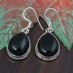 BLACK ONYX 925 SOLID STERLING SILVER EARRING 7.47g DJER2858 #Handmade #EARRING