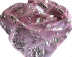 Pink Silk Head Scarf, Half scarves for Cancer Patients, Christmas gift idea for Friend, Floral Head Scarf, Neckerchief for her, Scarves 20 by blingscarves. Explore more products on http://blingscarves.etsy.com
