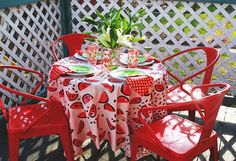 iLoveToCreate Blog: Watermelon Tablecloth from Apple Stamps
