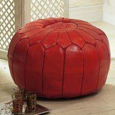 Red Moroccan Leather Pouffe