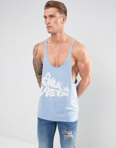 ASOS Extreme Racer Back Tank With Text Print In Blue - Blue