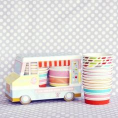 Adorable ice cream cups and wooden spoons!  This needs to be back in stock soon...